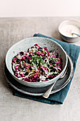 Radicchio salad with a tahini dressing a dried sour cherries