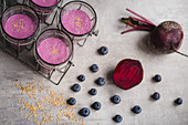 Beetroot smoothie with blueberries