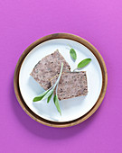 Minced meat and chicken liver terrine