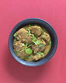 Lamb and coconut curry with coconut milk and coriander