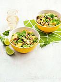 Combination caulifower and broccoli fried 'rice'