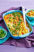 Cauliflower and pumpkin pasta bake