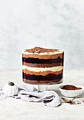 Coffee, hazelnut and chocolate mousse trifle
