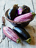 Still life with various types of aubergines