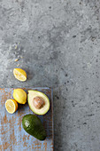 Fresh avocadoes and lemons