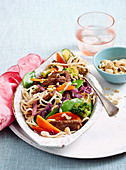 Teriyaki beef toss with asian noodles