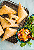 Crispy lamb samosas with fresh mango salsa