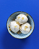 Vegan soya ice cream with ginger and sesame seeds