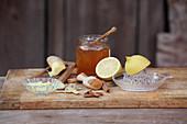 Homemade ginger honey