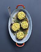 Portobello-Pilze mit Polentafüllung