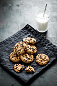 American chocolate chip cookies and milk