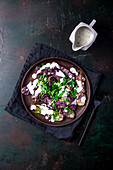 Blue potato and parsley salad with yoghurt dressing