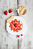 Strawberries with black pepper and sponge biscuits