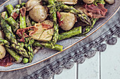 Spring Salad - Fresh Asparagus, Dill, Garlic, Chilli Flakes, mustard seeds, new potatoes, crispy parma ham, shallots, French dressing, garden peas