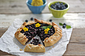 Blueberry and almond galette with lemon-cashew cream (vegan)