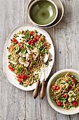 Spaghetti with chicken and almond broccoli pesto