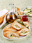 Tuna and cucumber baguettes