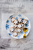 Cinnamon stars on a Christmas plate