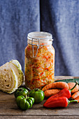A jar of Pusztakraut (chopped pickled vegetables)