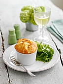 Cheese souffle and lettuce