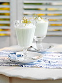 Chilled syllabubs with lime mousse (England)
