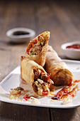 Spring rolls with chilli sauce (Asia)