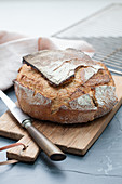 Aveyron bread on a chopping board