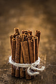 Cinnamon stick tied in a bundle