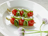 Cherry tomato and courgette kebabs