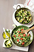 Charred Brussels sprout leaves with sweet soy and honey, Brussels sprouts 'tabbouleh'