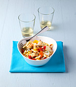 Pasta salad with tomatoes and anchovies