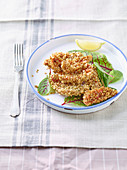 Crispy Mullets with Oat Flakes and Almonds