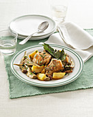 Rabbit with Artichokes, Olives and Potatoes