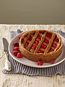 Fake Linzer Tart with Dates and Raspberries