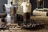 Coffee with Mozart liqueur, chocolate and cream