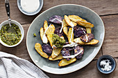 Roast potatoes with pesto and creme fraiche