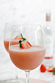 Frosé: Semi-frozen drink made of rosé wine, strawberries, sugar and lemon juice