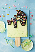 Pine-lime popsicle ice-cream cake