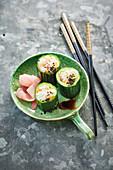 Sushi cucumber roses