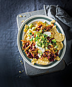 Pulled chicken and bean nachos