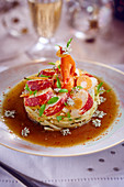 Lobster and papaya tartlet