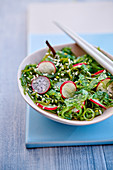 Wakame and radish salad with sesames seeds