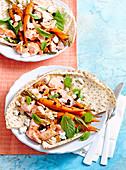 Lebanese bread, salmon & carrot bowls
