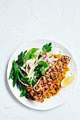 Spicey salmon with pumpkin and chickpea smash
