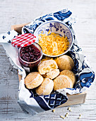 Classic butter scones with quick raspberry jam