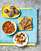 Almond date balls, Seed and date crackers, Spicy roasted chickpeas and Almond trail mix