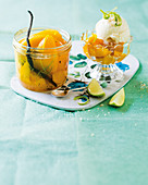 Rum-spiked mangoes with vanilla and lime