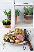 Quinoa and herb-crusted rack of lamb
