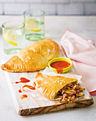 Mince and baby marrow calzones