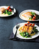 Bacon-wrapped hake parcels